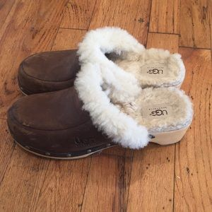 Ugg Australia Clogs Brown Leather Shearling Fur